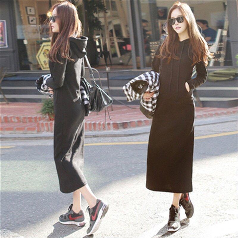 แม็กซิชุดฤดูใบไม้ร่วงฤดูหนาวผู้หญิงเกาหลีสไตล์ลำลองแขนยาวบาง - นานาชาติ.