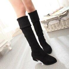 ราคา Hot Deal Women S Pu Leather Mid Heels Over The Knee Boots Black Intl ใหม่ล่าสุด