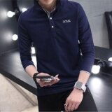 โปรโมชั่น Hot New Fashion Men Polo Shirts Long Sleeve Solid Color Large Size T Shirt Dark Blue And Grey Intl ถูก