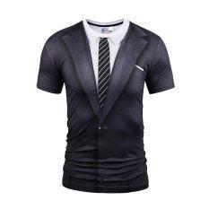 ราคา ราคาถูกที่สุด Hot Sale Fashion Men S Funny 3D T Shirt Unique Design Fake Two Piece Print Shirt Hip Hop T Shirt Intl