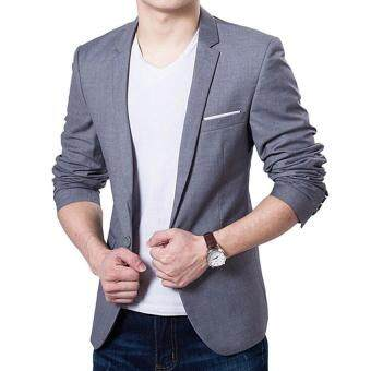 Hot Sale Men's Autumn Clothing Costume Jacket Blazer Cardigan Suits Jackets Coat (Grey) - intl