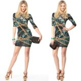 Hot Style Popular Trend S*xy Charming Chain Pattern Printed Bandage Dress Party Dress Color As The Picture Intl เป็นต้นฉบับ