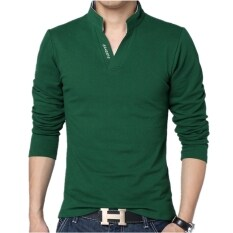 ขาย Huaway Men S Fashion Solid Color Letter Casual Long Sleeve Polo Shirts Green Intl ออนไลน์