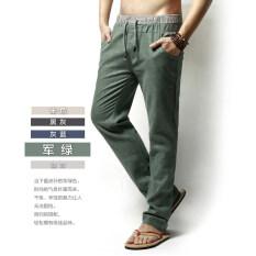 ซื้อ กางเกงผ้าลินินผ้าฝ้ายกางเกงลำลองในช่วงฤดูร้อนส่วนบางตรง กองทัพสีเขียว Unbranded Generic ออนไลน์