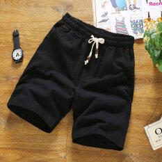 ขาย กีฬาเกาหลีและผ้าลินินชายฤดูร้อนสบายๆกางเกงขาสั้นกางเกงขาสั้น สีดำ Happy Time