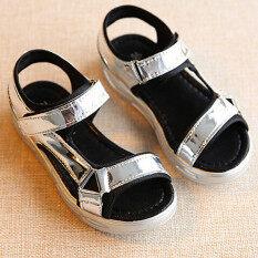 ราคา เป็นเด็กเพศหญิงแฟชั่นรองเท้าแตะส่องตะขอแบนรองเท้าแกลดิเอเตอร์ร้อนเงิน I91 Unbranded Generic ใหม่