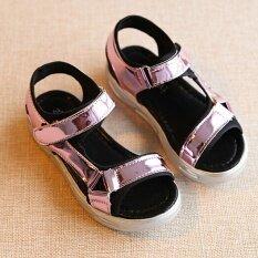 ราคา เป็นเด็กเพศหญิงแฟชั่นรองเท้าแตะส่องตะขอแบนรองเท้าแกลดิเอเตอร์ร้อนสีชมพู I91
