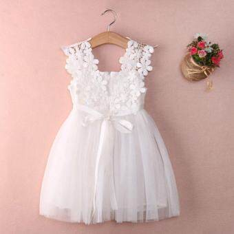 ฉันเชื่องานแต่งงานสาวดอกไม้ชุดลูกไม้ชีฟองชุดเด็กฤดูร้อน (สีขาว) - สนามบินนานาชาติ