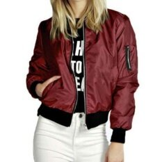 ขาย ซื้อ Ibelieve Womens Zip Up Biker Jacket Classic Vintage Bomber Top Ladies Padded Short Coat Wine Red Intl