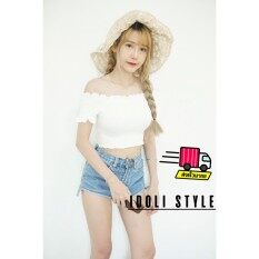 โปรโมชั่น Idoli Styleเสื้อครอปปาดไหล่ เสื้อครอปเกาหลี Idoli Style