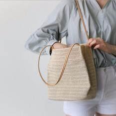 กระเป๋าสานมินิมอล สะพายข้าง สไตล์เกาหลี  สไตล์วินเทจ Ig Pinterest ย่ามสานแฟชั่น เข้าได้กับเสื้อผ้าทุกชุด ญี่ปุ่น.