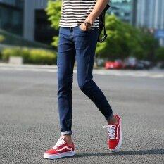 ซื้อ นำเข้า Hgjy แฟชั่นผู้ชาย Skinny กางเกงยีนส์ Ripped รูออกแบบกางเกงกางเกงชาย นานาชาติ ใน จีน
