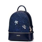 Imported Just Star High Quality Faux Leather Pu Purse Backpack Sch**l Book Bag Bling Sequins Glitter Dragonfly Blue Intl ถูก