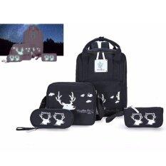 ขาย ซื้อ ออนไลน์ Indy Style กระเป๋าเป้ กระเป๋าเป้สะพายหลัง กระเป๋าสะพายพาดลำตัว กระเป๋าแฟชั่นเกาหลีเซ็ท 4 ใบสุดคุ้ม สีดำ