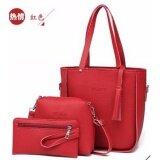 โปรโมชั่น Infinity Fashion Bags Rz601 กระเป๋าแฟชั่น กระเป๋าถือ กระเป๋าสะพายข้าง เซ็ท 3 ใบ Red แดง Infinity Shop