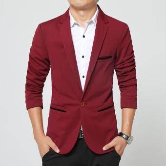 Iron Free Man Suit Jacket Slim One Button Casual Men Blazer(Red)