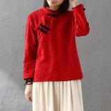 Jacquard จีนยืนปกผ้าฝ้ายเสื้อยืด สีแดง ฮ่องกง