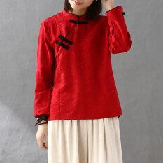 Jacquard จีนยืนปกผ้าฝ้ายเสื้อยืด สีแดง เป็นต้นฉบับ