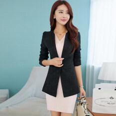 ซื้อ หญิงชุดสูทเวอร์ชั่นเกาหลีหญิงเสื้อกันหนาว Jacquard ใหม่ที่บางเฉียบ สีดำ ถูก