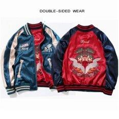 ราคา ญี่ปุ่นผู้ชายผู้หญิงเย็บปักถักร้อยเสื้อแจ็คเก็ตย้อนยุคบางคู่สวมใส่สองด้านเบสบอลเสื้อสูทชุดเสื้อผ้า นานาชาติ ใหม่ ถูก