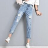 ราคา Je Fe Europe And America High Waisted Holes In Jeans Women S Pants Light Blue Intl ที่สุด