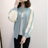 ราคา Je Fe Korean Fashion Knit Cardigan Embroidered Sweater Coat Blue Intl เป็นต้นฉบับ