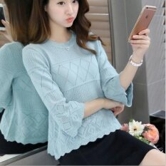 ขาย Je Fe Korean Fashion Loose Base Sweater Blue Intl จีน