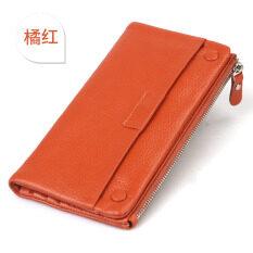 ซื้อ Jeminal กระเป๋าสตางค์หนังนิ่มซิปรอบใบยาวสตรี สีส้ม ถูก ใน ฮ่องกง