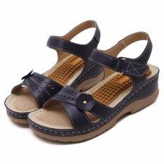 ราคา รองเท้าแตะ Jetcorn 2017 ผู้หญิงใหม่ 4 เซนติเมตรส้นยุโรปนวดเย็บผ้าสไตล์ลิ่มนุ่มเวลโครวงดนตรี Peep นิ้วเท้ารองเท้าแตะสีน้ำเงินเข้มขนาด 36 41 นานาชาติ Unbranded Generic เป็นต้นฉบับ