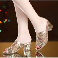 ราคา รองเท้าแตะรองเท้าแตะ Jetcorn สำหรับสุภาพสตรีรองเท้าส้นสูงรองเท้าแตะ Peep นิ้วเท้ารองเท้าขนาด 35 41 ทอง ใหม่ล่าสุด
