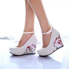 ซื้อ Jiayiqi ผู้หญิงลิ่มพิมพ์รองเท้าส้นสูงสีขาว ถูก