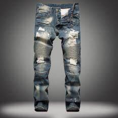 ราคา Jieyuhan Men S Blue Skinny Ripped Destroyed Distressed Straight Slim Tapered Leg Jeans Intl จีน