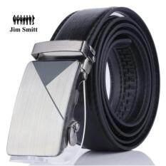 ราคา Jim Smitt เข็มขัดหนังแท้ แบบหัวล๊อคอัตโนมัต สายหนังสีดำ Black Belt ที่สุด