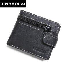 ส่วนลด Jinbaolai ผู้ชายสบายๆหนังสั้นหนังแท้กระเป๋าสตางค์เหรียญสีดำ สนามบินนานาชาติ Jinbaolai