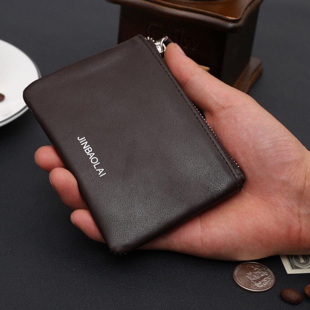 JINBAOLAI men wallets with coin zipper male small mini coin wallet men bag leather Genuine brand Black men's wallet purse