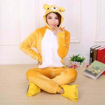 Jingle Rilakkuma ผู้ใหญ่ชุดคอสเพลย์ชุดนอน Onesie S-XL (สีเหลือง) - สนามบินนานาชาติ-