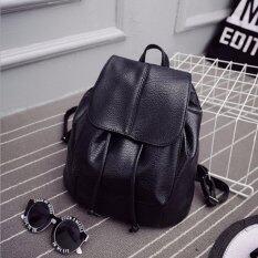 Jj กระเป๋าเป้สะพายหลัง ผู้หญิง กระเป๋าเป้เกาหลี กระเป๋าเป้หนัง รุ่น St 12676 Black ถูก