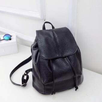 JJ กระเป๋าเป้สะพายหลัง ผู้หญิง กระเป๋าเป้เกาหลี กระเป๋าเป้หนัง รุ่น ST-12676 (Black)  -