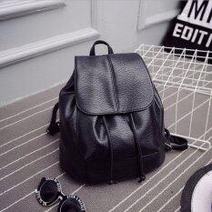Jj กระเป๋าเป้สะพายหลัง ผู้หญิง กระเป๋าเป้เกาหลี กระเป๋าเป้หนัง รุ่น St 12676 สีดำ ใน กรุงเทพมหานคร