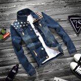 ราคา Jjz Mitch Stitch Men S Lapel Fashion Denim Jacket Korean Slim Jacket Cowboy Men S Tops Tide Intl ใหม่ล่าสุด