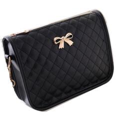 ราคา Jo In ผู้หญิงกระเป๋าหนังสังเคราะห์กระเป๋าถือกระเป๋าข้ามไหล่โบว์สีดำ เป็นต้นฉบับ