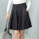 ขาย ซื้อ Jojo Spring And Summer New Large Size Womens High Waist Slim Bust Skirtpocket Skirt Put On A Large Pleated A Line Dress Bottoming Skirt Black Intl จีน