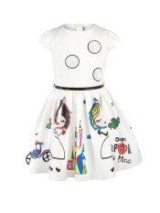 โปรโมชั่น Jollychic Cute Cartoon Short Sleeve O Neck Girls Dress White Intl ถูก