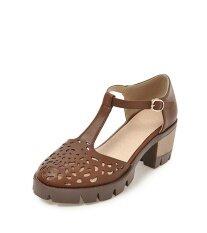 ซื้อ รองเท้าแตะ Jollychic ของผู้หญิงรูปแบบดอกไม้กลวงทั้งหมดตรงกับหัวเข็มขัดรองเท้า สีน้ำตาล สนามบินนานาชาติ Unbranded Generic ออนไลน์