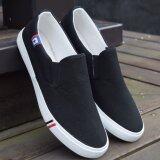 Joy Canvas Lazy Man Shoes Black จีน