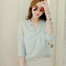 ซื้อ Joy Korea Korean Fashion Loose V Collar Chiffon Shirt Blue Intl ออนไลน์