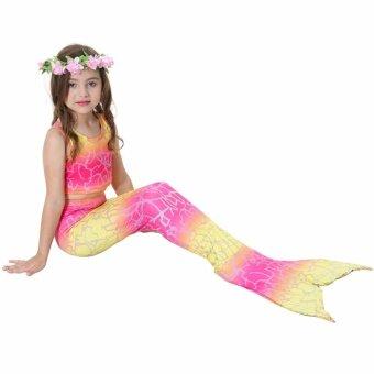 JS Baby Girls Summer Style Multicolor Mermaid Tail Swimsuit Tank Top Bathing Suit S005 Fuchsia - intl