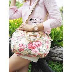 ขาย Judy S กระเป๋าผ้าแคนวาส รุ่น Boston สายสะพายยาวถอดได้ ลายดอกชมพูพื้นครีม กรุงเทพมหานคร