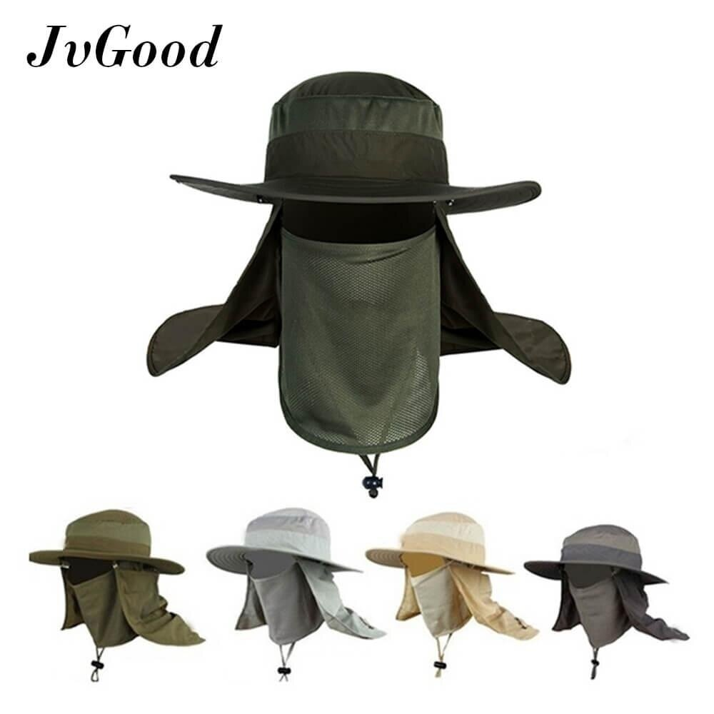 JvGood เกราะหน้ากะบังหมวก Fashion Summer Outdoor Sun Protection Fishing Farmer Gardener Cap Neck Face Flap Hat Wide Brim - intl