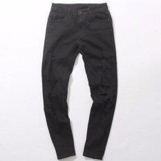 ซื้อ กางเกงยีนส์ขาด Super Destroy Denim Black สีดำ ออนไลน์